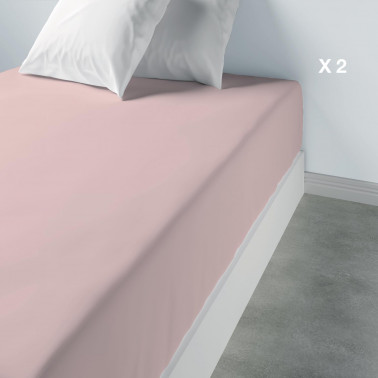 Lot de 2 draps housse uni Coton bonnet 35 cm Blush 80 x 200 x 35