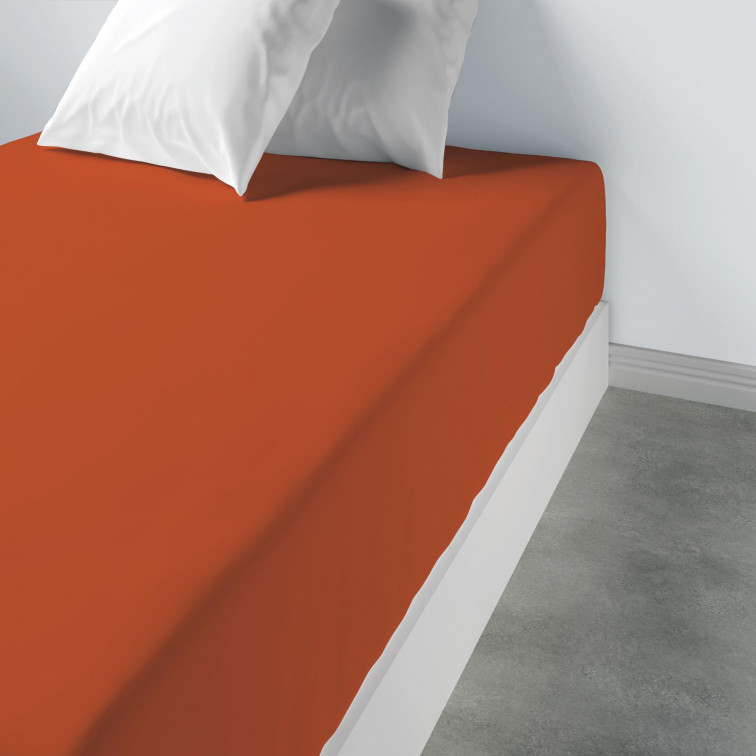 Lot de 2 draps housse uni Coton Terracotta 80 x 200 x 35