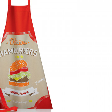 Tablier de cuisine IMPRIME BURGER ROUGE