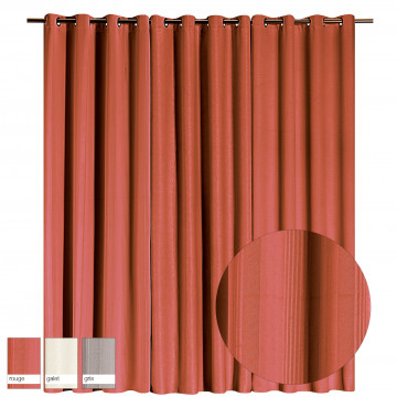 Rideau Occultant Embossé Raye Rouge 140 X 260
