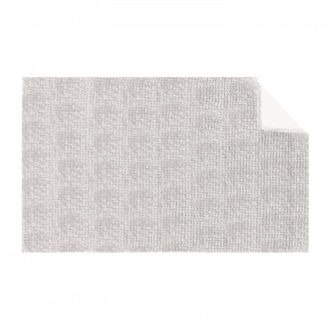 TAPIS DE BAIN SHAGGY DOUBLE VASQUE CHINE ECRU/GRIS 50 X 110